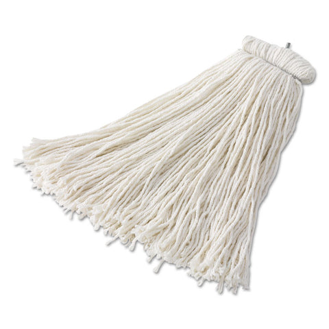 Bolt-On Cut-End Mop Head, Rayon, 24oz, White, 6/carton