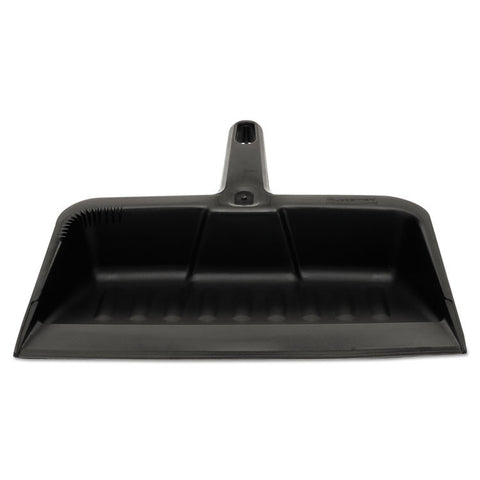 "Heavy-Duty Dustpan, 8 1/4"" W, Polypropylene, Charcoal"