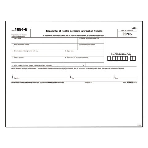 1094-B Transmittal For 1095-B Laser Form, 8 1/2 X 11, 25 Sheets/pack