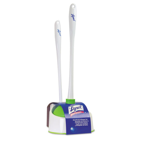 "Lysol Bowl Brush With Plunger And Caddy, 20 1/4"", White/green"