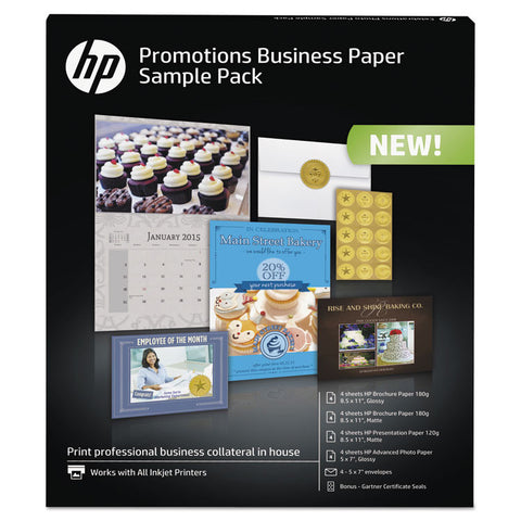 Business Promotions Sample Pack, Assorted Sizes, 16 Sheets, 4 Envelopes
