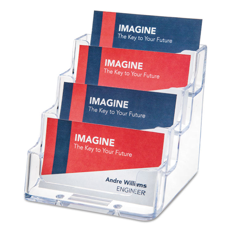 4-POCKET BUSINESS CARD HOLDER, 200 CARD CAP, 3 15/16 X 3 3/4 X 3 1/2, CLEAR