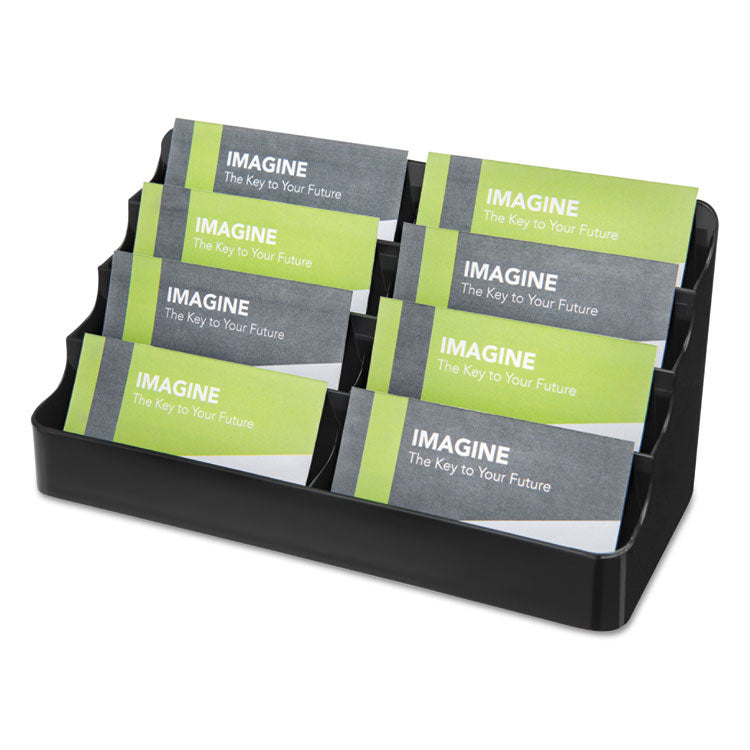 8-POCKET RECYCLED BUSINESS CARD HOLDER, 400 CARD CAP, 7.88 X 3.38 X 3.5, BLACK