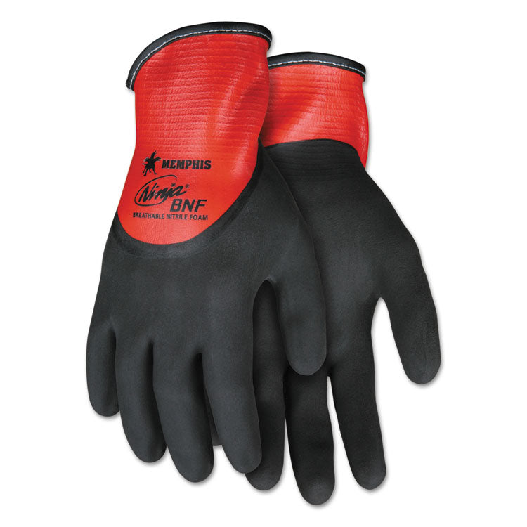 Ninja N96785 Full Nitrile Dip Bnf Gloves, Red/black, Medium, 1 Dozen