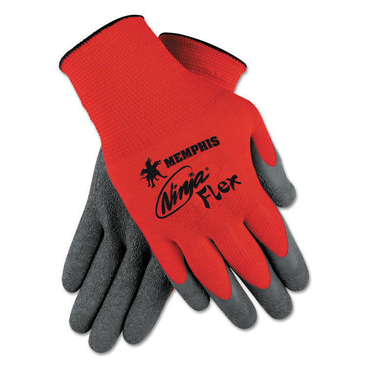 Ninja Flex Latex-Coated Palm Gloves N9680m, Small, Red/gray, 1 Dozen