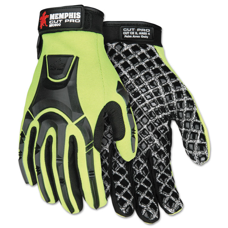Cut Pro Mc500 Gloves, High Vis Lime/black, X-Large