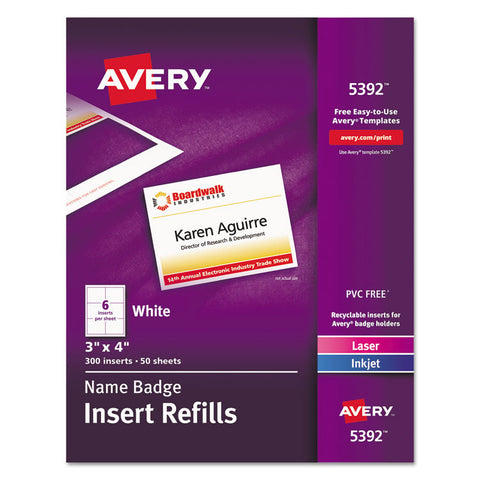 Additional Laser/inkjet Inserts, 3 X 4, White, 300/box