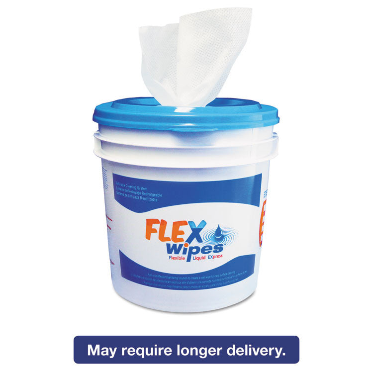 Flex Wipes Refillable Wiper/bucket System,12x12.5, White, 110/roll, 5 Roll/crtn