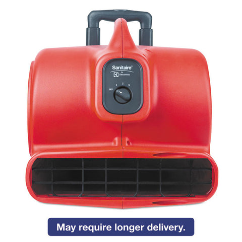 Commercial Three-Speed Air Mover With Built-On Dolly, 5 Amp, Red, 25 Ft Cord
