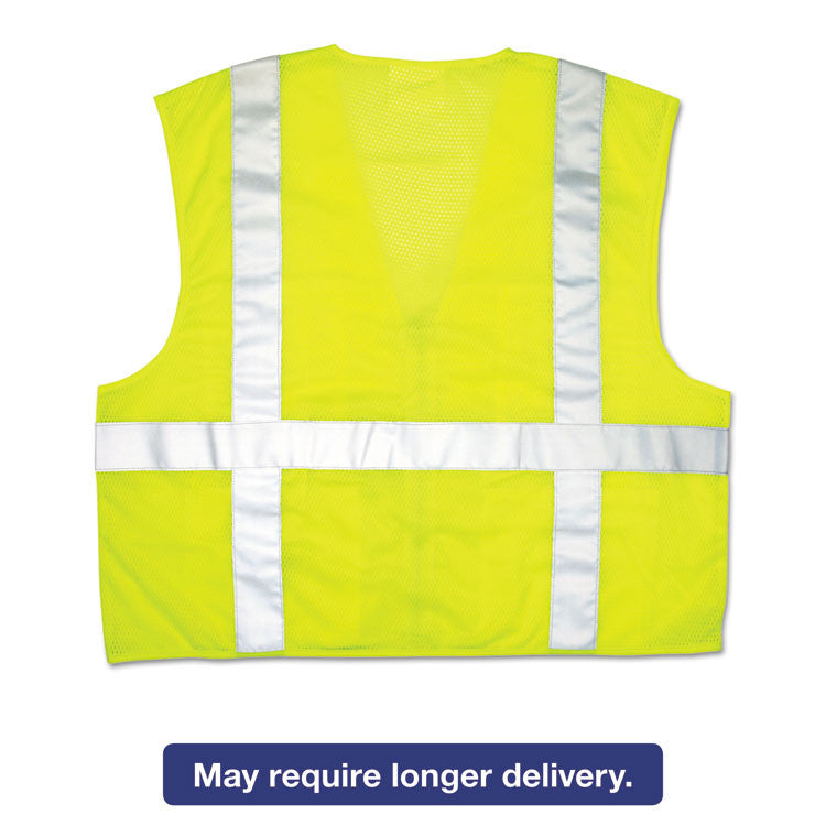 Luminator Safety Vest, Lime Green W/stripe, 3x-Large