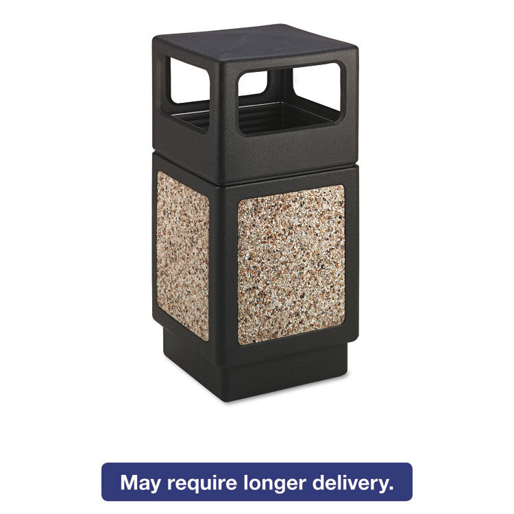 Canmeleon Side-Open Receptacle, Square, Aggregate/polyethylene, 38gal, Black