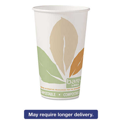 Bare By Solo Eco-Forward Pla Paper Hot Cups, Leaf Design, 16 Oz, 1000/carton