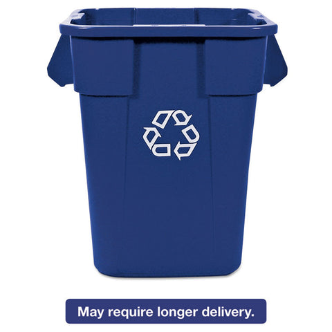 Brute Recycling Container, Square, Polyethylene, 40 Gal, Blue