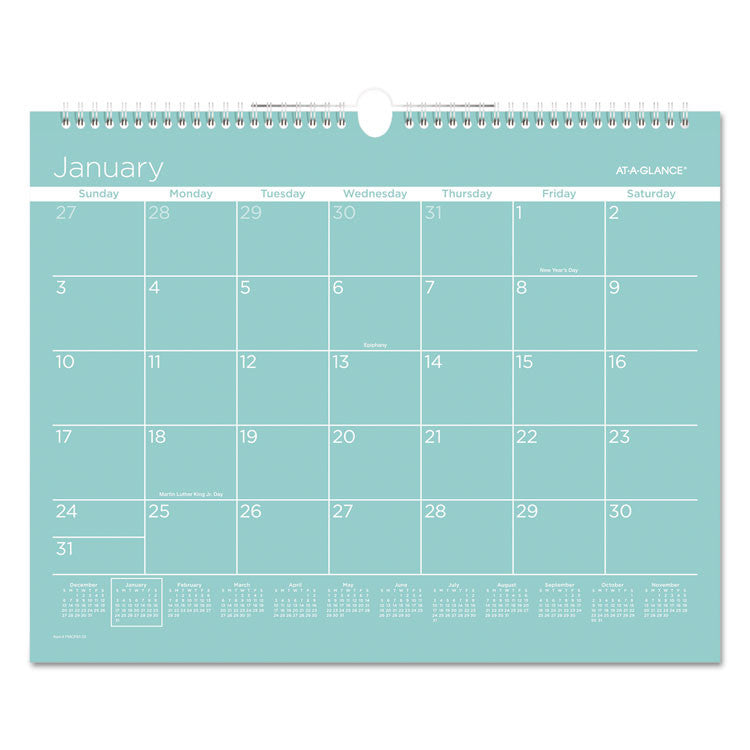 Color Play Wall Calendar, 15 X 12, Teal, 2017