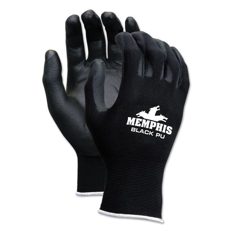 Economy Pu Coated Work Gloves, Black, Small, 1 Dozen