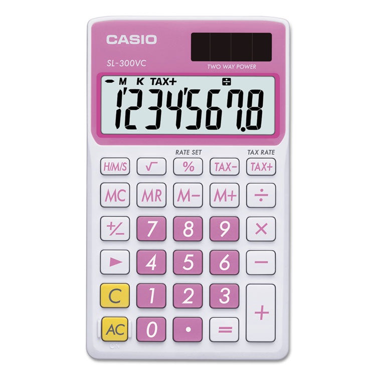 Sl-300vcpk Handheld Calculator, 8-Digit Lcd, Pink