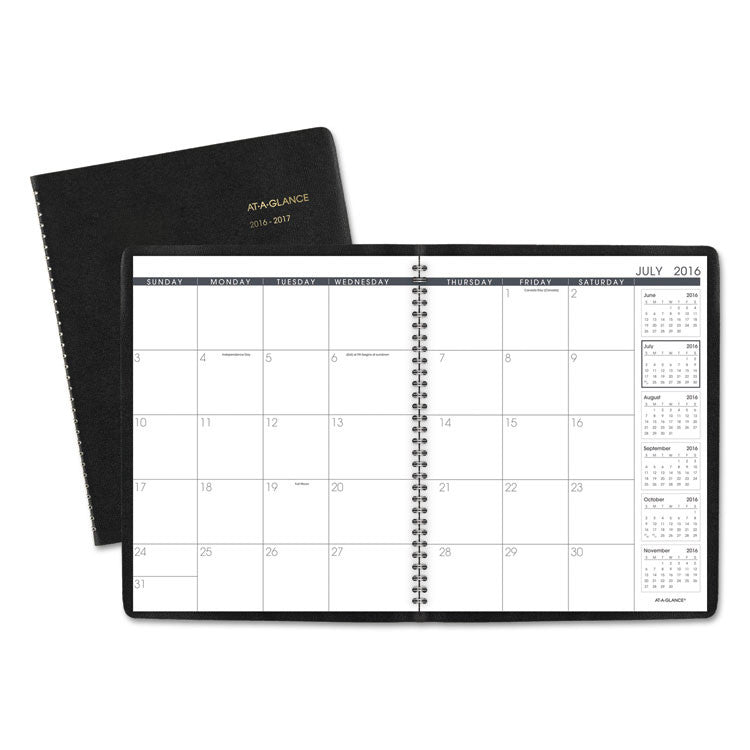 Unruled Monthly Planner, 9 X 11, Black, 2016-2017