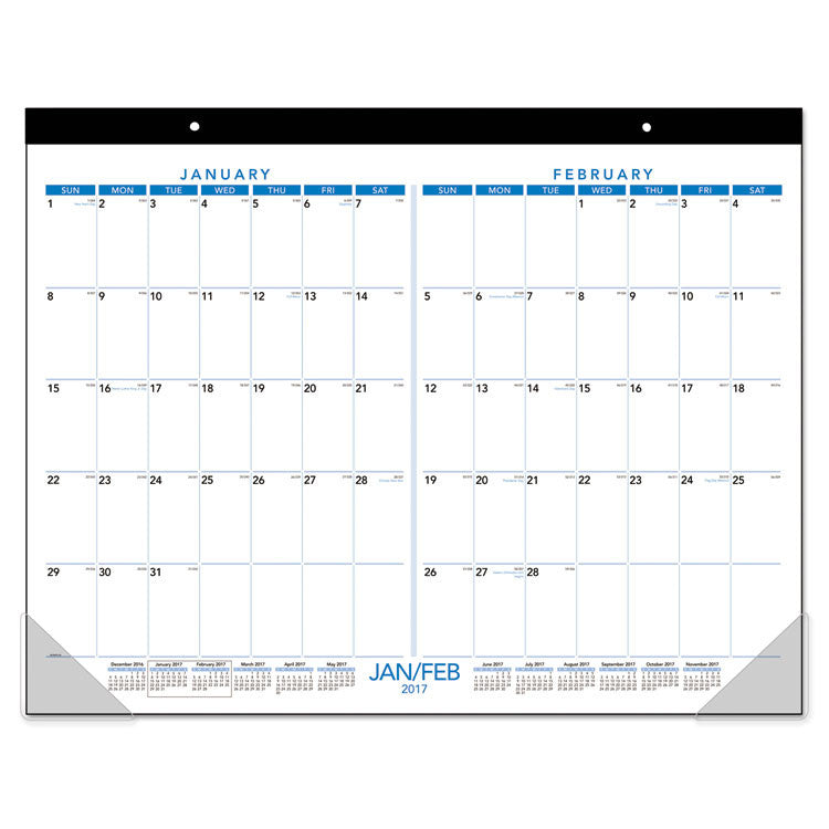Two Months Per Page Desk Pad, 21 3/4 X 17, 2017-2018