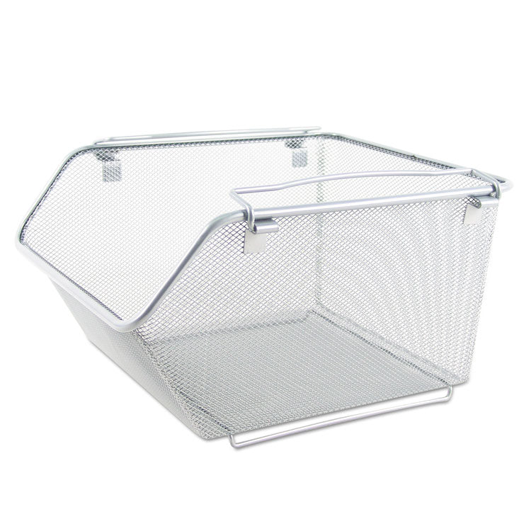 Wire Mesh Stacking Shelving Bins, 12 3/4 X 15 1/8 X 8 5/8, Silver, 2/set