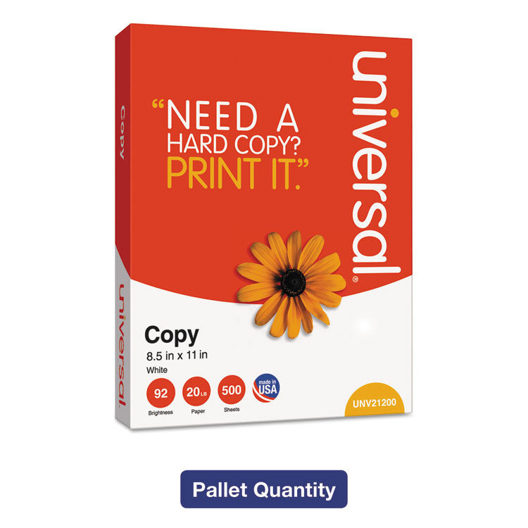 Copy Paper, 92 Brightness, 20 Lb, 8-1/2 X 11, White, 200,000 Sheets/plt