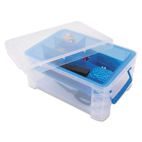 Super Stacker Divided Storage Box, Clear W/blue Tray/handles, 10.3 X 14.25x 6.5
