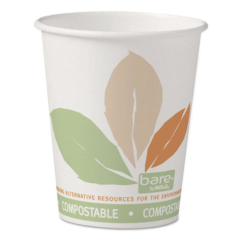 Bare By Solo Eco-Forward Pla Paper Hot Cups, 10 Oz, Leaf Design, 50/pack