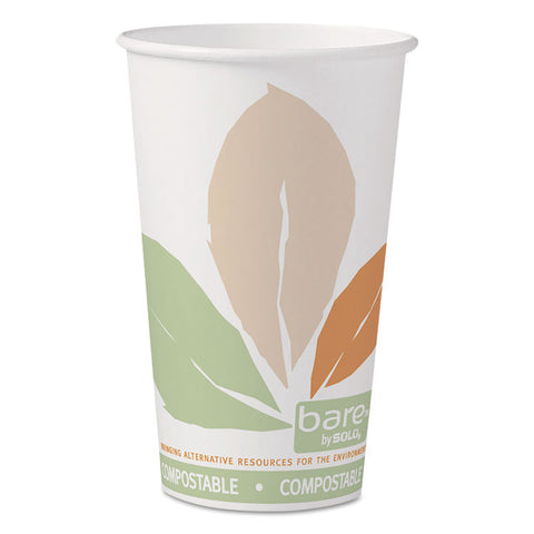 Bare By Solo Eco-Forward Pla Paper Hot Cups, 16 Oz, Leaf Design, 50/pack