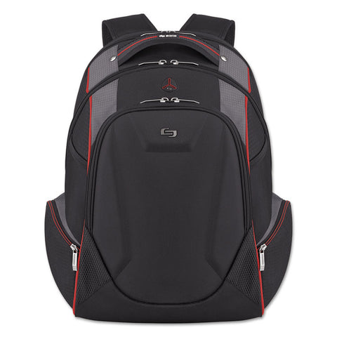 "Active Laptop Backpack, 17.3"", 12 1/2 X 8 X 19 1/2, Black/gray/red"
