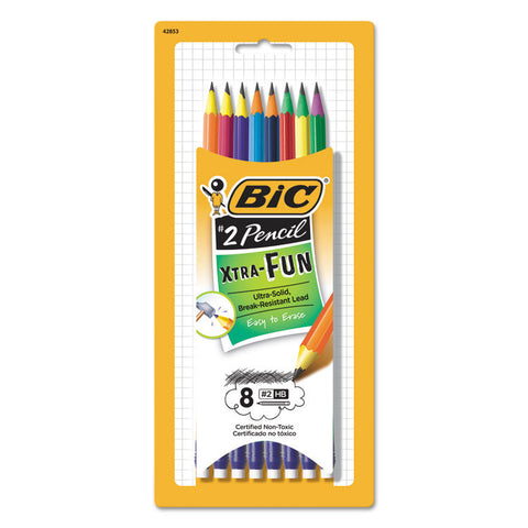#2 Pencil Xtra Fun, 0.7 Mm, Assorted Two-Tone Barrel Colors, 8/pack