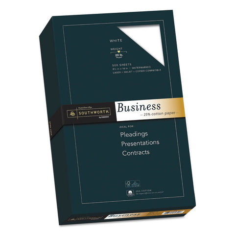 25% Cotton Business Paper, 20lb, 95 Bright, 8 1/2 X 14, 500 Sheets