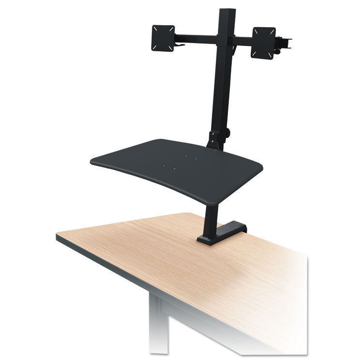 Up-Rite Rear Mounted Sit-Stand Workstation, Double, 27 5/8 X 30 X 42, Black