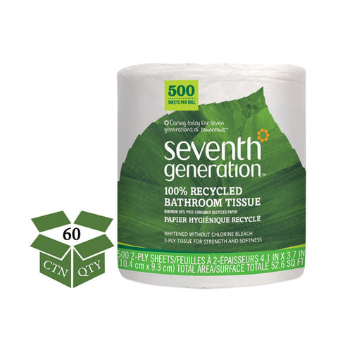 100% Recycled Bathroom Tissue, 2-Ply, White, 500 Sheets/jumbo Roll, 60/carton