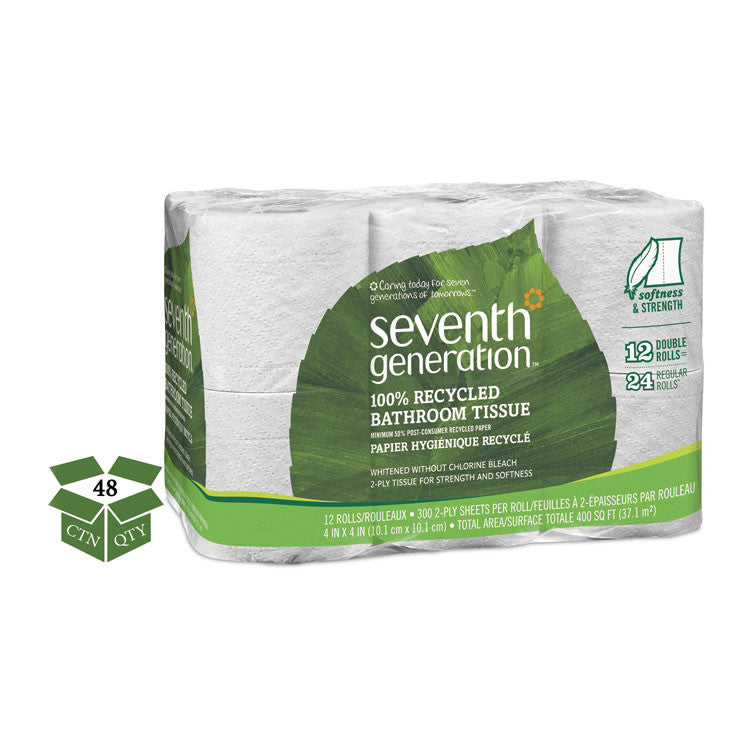 100% Recycled Bathroom Tissue, 2-Ply, White, 300 Sheets/roll, 48/carton