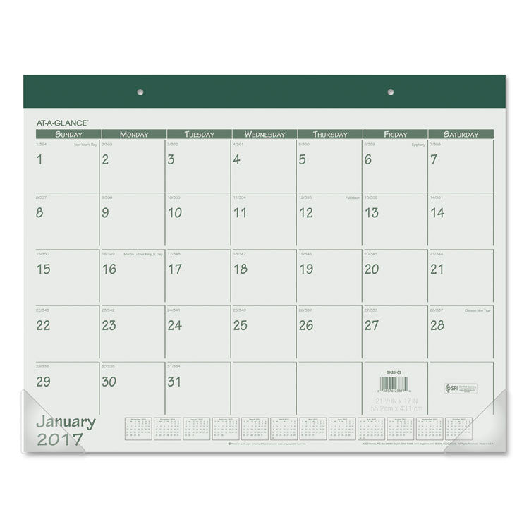 Fashion Color Desk Pad, 22 X 17, Green, 2017