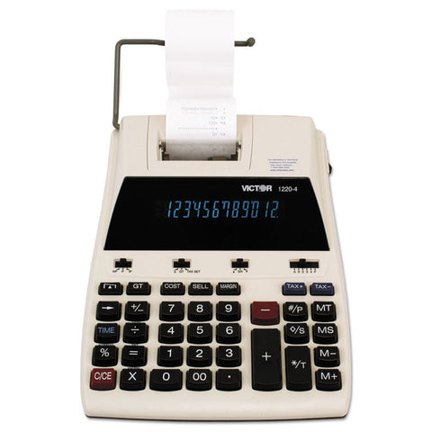 1220-4 Two-Color Tax Key Printing Calculator, Black/red Print, 3 Lines/sec
