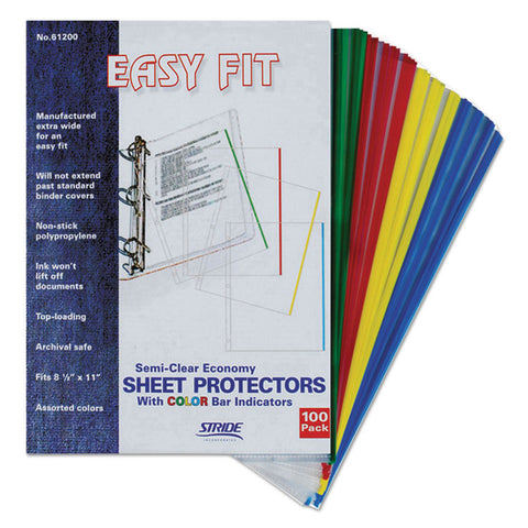 Easyfit Sheet Protectors, 8 1/2 X 11, Assorted Colors, 100/box