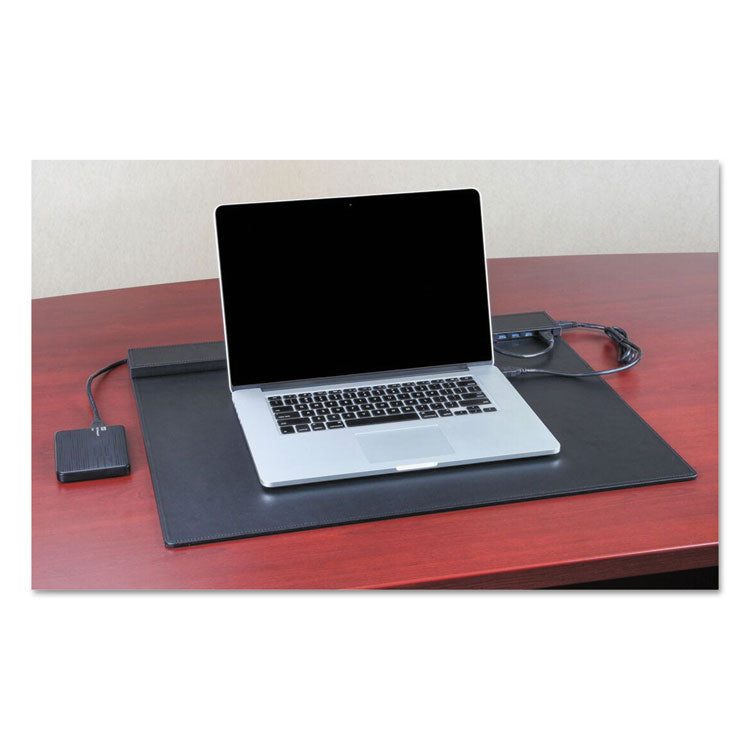 Techie Electronic Desk Pad, 24 X 19, Black, Faux Leather