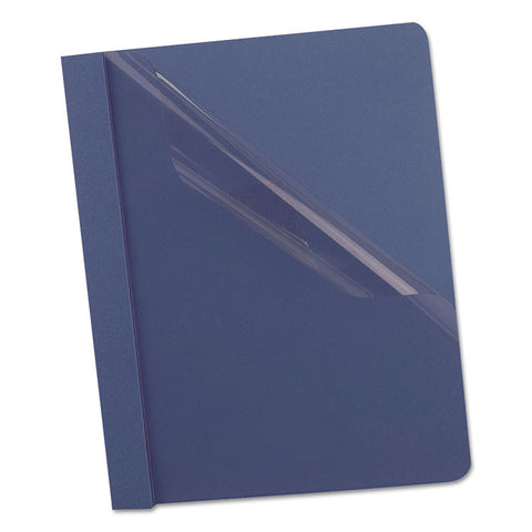 "Clear Front Report Cover, 3 Fasteners, Letter, 1/2"" Capacity, Dark Blue, 25/box"