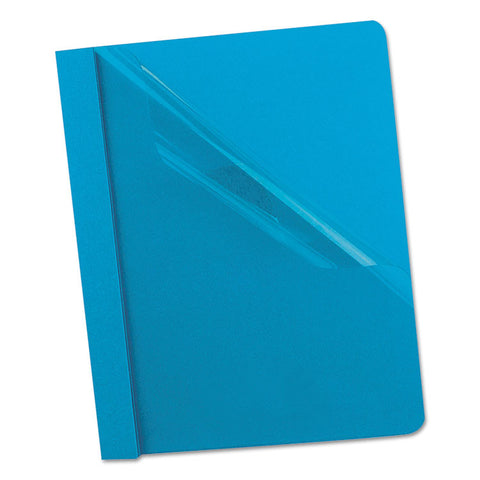"Clear Front Report Cover, 3 Fasteners, Letter, 1/2"" Capacity, Blue, 25/box"
