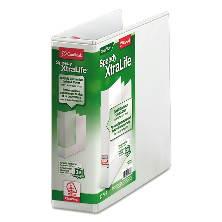 "Speedy Xtralife Non-Stick Locking Slant-D Ring Binder, 3"" Cap, 11 X 8 1/2, White"