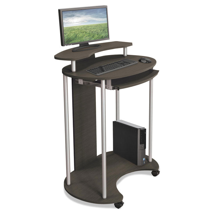 Up-Rite Mobile Standing Workstation, 27 1/2 X 22 1/2 X 45 1/2, Smoked Sapelle