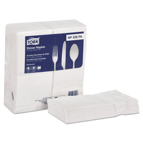 Advanced Soft Dinner Napkins, 2-Ply, 15x17, 1/8 Fold, Poly-Pack, White, 2000/ct