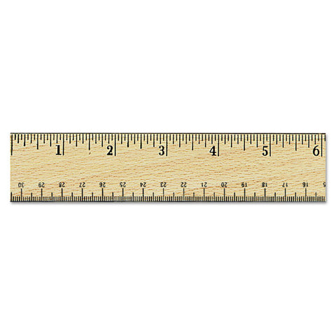 "Flat Wood Ruler W/double Metal Edge, 12"", Clear Lacquer Finish"