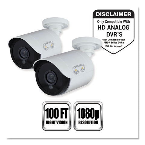 Add-On Hd Wired Security Bullet Cameras,1080p Resolution, 2/pk