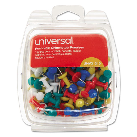 "Colored Push Pins, Plastic, Rainbow, 3/8"", 100/pack"