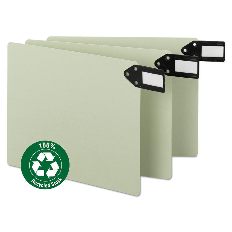 Green End Tab Guides, Blank, Horizontal Metal Tabs, Pressboard, Letter, 50/box