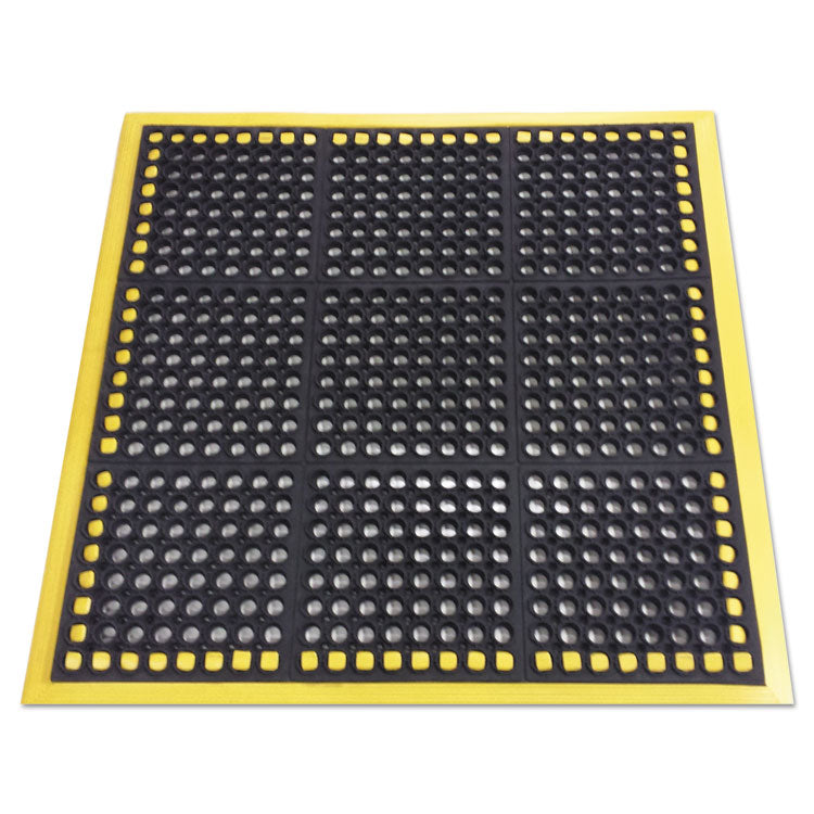 Safewalk Workstations Anti-Fatigue Drainage Mat, 40 X 40, Black/yellow