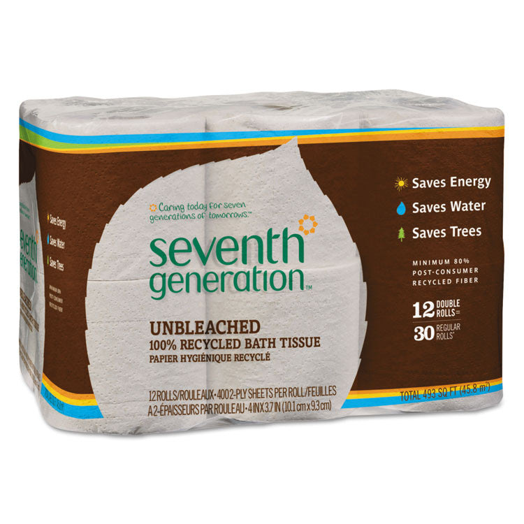 Natural Unbleached 100% Recycled Bath Tissue, 2-Ply, 400 Sheets/mega Roll, 12/pk