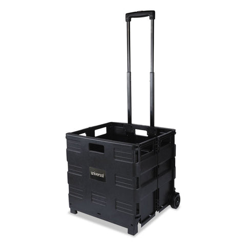 Collapsible Mobile Storage Crate, 18 1/4 X 15 X 18 1/2 To 39 3/8, Black