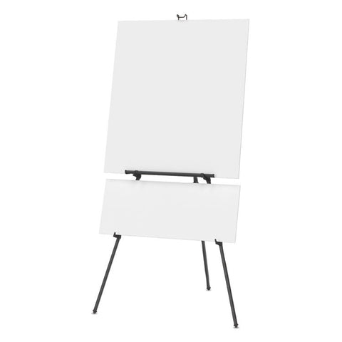 "Aluminum Heavy-Duty Display Easel, 38"" To 66"" High, Aluminum, Black"